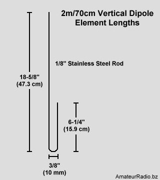 2m-70cm Vertical Dipole Element Lengths